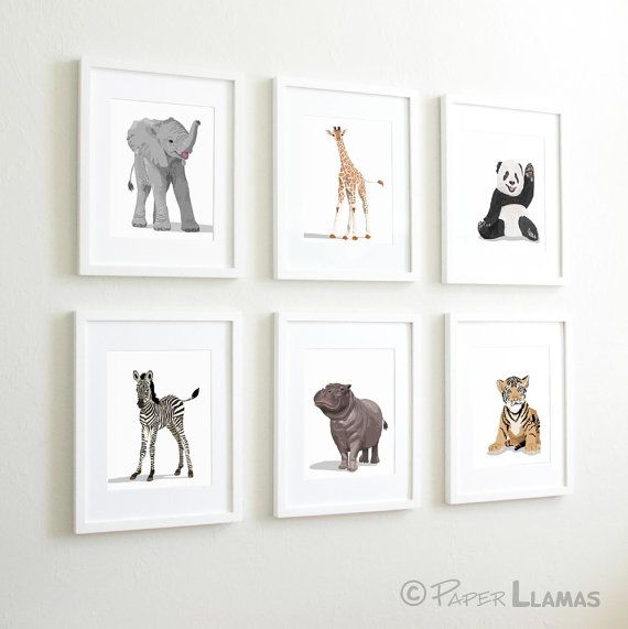 Hello there, this listing is for a set of six unframed art prints.    You can pick any six animals from my collection. ( See selection chart.) Just