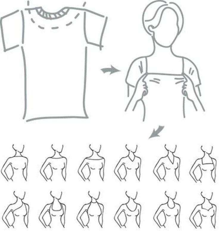 КАК САМОСТОЯТЕЛЬНО ОПРЕДЕЛИТЬ КАКИЕ ГОРЛОВИНЫ ВАМ ПОДХОДЯТ?  Есть один универсальный способ как самостоятельно разобраться с этим вопросом учитывая мельчайшие особенности строения вашего тела.Для этого вам потребуется старая ненужная футболка и зеркало.  1. Футболку лучше взять не нужную без рисунков идеально белую или черную.  2. Ножницами отрезаем у футболки горловину как показано на рисунке. Нам нужно расширить вырез. Если у вас футболка и так с широким вырезом можно использовать ее…