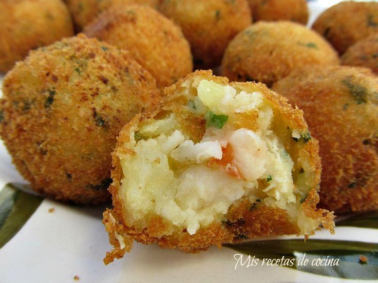 Bolitas de patata y langostino