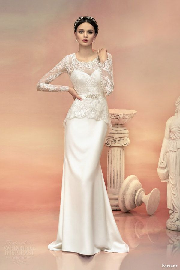 papilio bridal 2015 selene wedding dress strapless gown long sleeve lace peplum top two in one