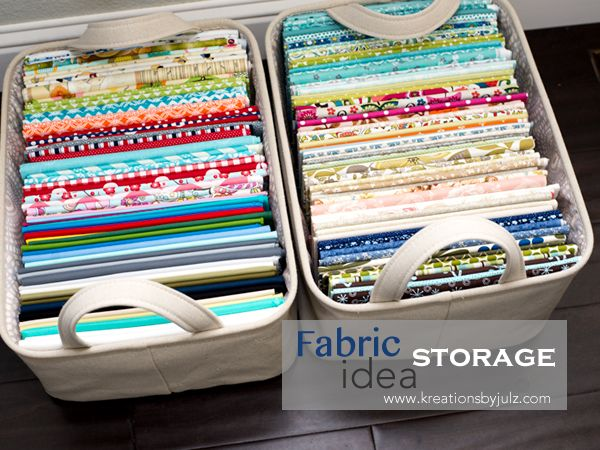 Fabric Storage: make mini fabric bolts with smaller pieces of fabric and store in portable bins - from Kreations by Julz