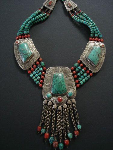 Contemporary Tibetan Turquoise Necklace. The center pendant has ten chain…