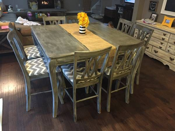 Beautiful refinished pub height table and chairs on craigslist - a different option as opposed to farmhouse table for dining room