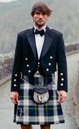 Dress Gordon - Shot through with bands of yellow and white, this is an adaptation of the Black Watch tartan. A Prince Charlie jacket, semi-dress sporran and a bow tie make this perfect occasionwear.    Top tip - a self tie bow tie although tricky to do is worth the extra effort