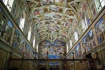 Interior de la Capilla Sixtina. Miguel Ángel Buonarrotti, el Vaticano.