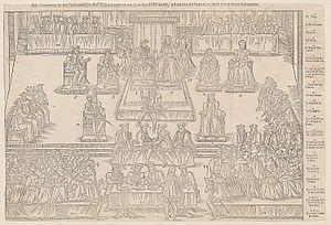 États généraux de 1560.- Charles 1° de Bourbon ne participe pas au conclave de 1559 qui élit Pie IV. Le 5 janv 1561 Charles 1° devient cardinal de S. Crisogone. Il participe aux Etats Généraux à Orléans, assiste au colloque de Poissy en 1561 organisé par Michel de l'Hospital. En1562 il devient abbé commendataire de St Germain des Prés. Il accompagne en 1565 le roi Charles IX à Bayonne. Il devient cette année légat du pape à Avignon. IL ne participe pas au conclave de 1565 qui élit Pie V