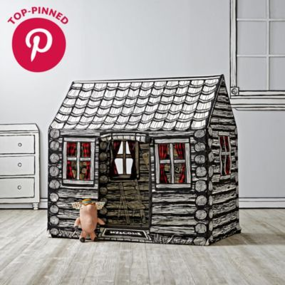 When we designed the log cabin playhouse, we made sure it was historically accurate.  So we researched the exact types of playhouses the pioneers used to live in.  After our research, we found out that the pioneers didn't actually live in playhouses.  But that didn't stop us from creating this amazing playhouse that's uniquely printed on the inside and out.  It comes complete with many cut out windows, a printed fireplace and more.