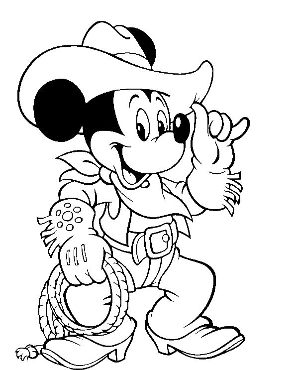 Mickey Mouse Wear Costum Cowboy Coloring Pages - Mickey Mouse Coloring Pages : KidsDrawing – Free Coloring Pages Online
