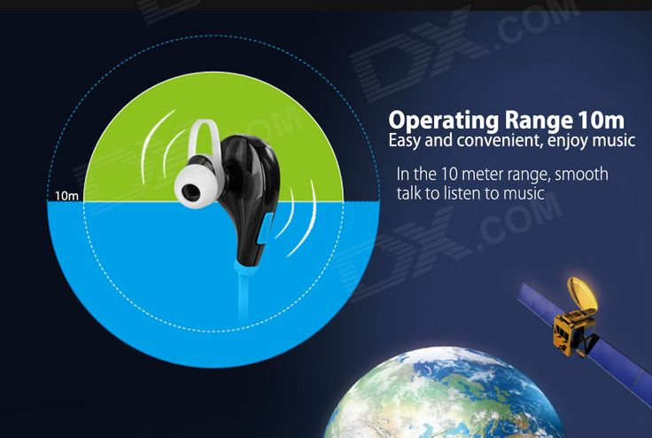 Outdoor Sports Bluetooth V4.0 In-Ear Earphone w/ Mic - Black + Blue - Free Shipping - DealExtreme