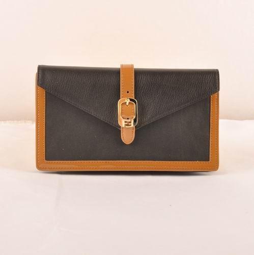 Fendi Black Original Leather Zucca Flap Wallet             $189.00