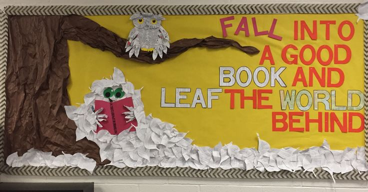 Fall library bulletin board 2016. Owl from last year, but new leaf person. The book she's reading? A Tree Grows in Brooklyn!