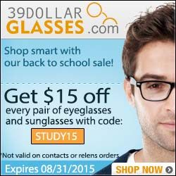 #eyewearcoupon http://www.planetgoldilocks.com/Planetgoldilocks_Blog… Importance of #Backtoschool: $15 off your glasses #couponcode  STUDY15. Get $15 off every pair of glasses! Use code STUDY15. Expires 8/31/2015.