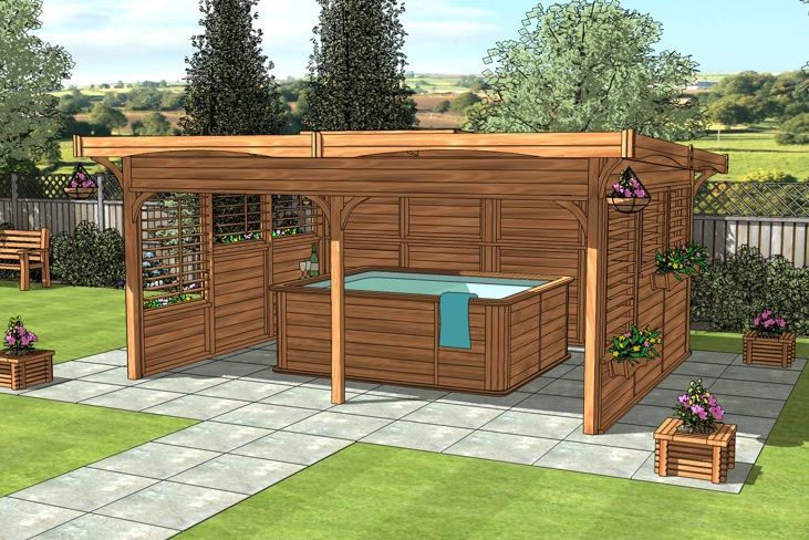 Hot tub spa gazebo 5m x 4m monopitch roof gazebo hot for Hot tub designs and layouts