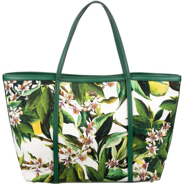 Pre-owned Dolce & Gabbana Floral Print Canvas Tote ($495) ❤ liked on Polyvore featuring bags, handbags, tote bags, green, white canvas tote, white tote, green canvas tote, green tote bag and canvas tote
