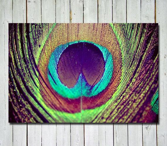Peacock feather photograph - metallic - peacock wall art - peacock decor -  dreamy - whimsical