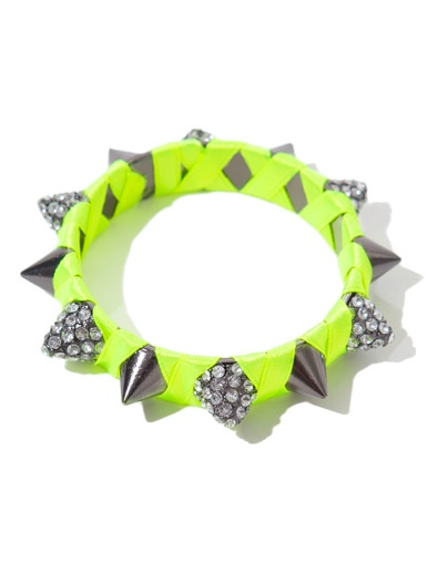 CONICAL STUD BRACELET WITH DIAMANTE AND A TOUCH OF NEON  - From Zara