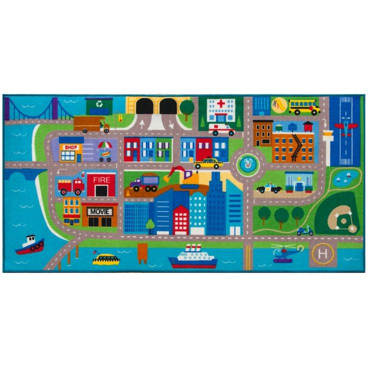 Designed to encourage creative play. Cityscape play rug features all sorts of vehicles - trains, planes, trucks, police cars, taxis, school buses and lots of streets to zoom along. Explore the whole city by road or water. Visit the park, take a trip to the airport, go to the movie theater, watch some construction, take a taxi across town. There are hours of creative play in their colorful nylon rug. Durable, 100% nylon rug backed with non-skid latex.