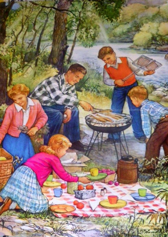 1960s FAMILY BARBEQUE nostalgic PRINT on Etsy, $4.59 AUD