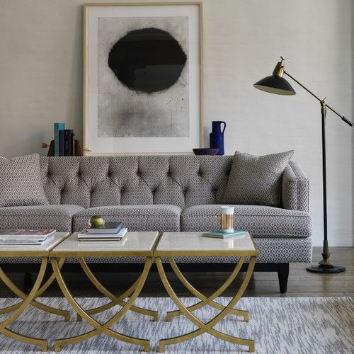 Chester Sofa in Dotted DIamonds Ash