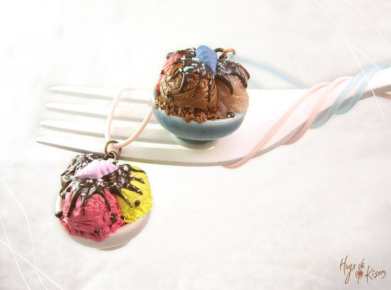 Scented Ice Cream Necklace, Pink or Blue Ice Cream Bowl Necklace, Mini Food Jewelry, Polymer Clay, Foodie Gift, Summer Necklace, Kawaii Necklace