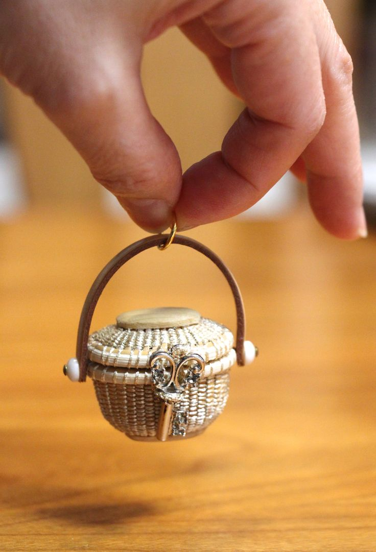 Miniature Sewing Basket with scissors; 1/12 scale