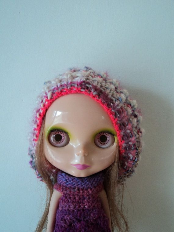 Pink Crazy Yarn Oversize Jellyfish Hat for Blythe by Keur on Etsy, $25.00