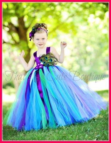 Peacock Flower Girl Tutu Dress-peacock, turquoise, blue, purple, flower girl, tutu dress, feather, green