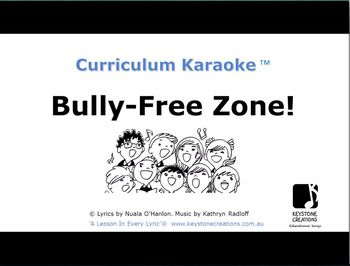 CURRICULUM KARAOKE™ ~ 'Bully-Free Zone!' (K-6) is a whole school, positive behaviours approach to dealing with unacceptable behaviours in primary schools. • Not musical ~ NO worries! • Just download the MP4 file and play on your classroom whiteboard! There's A Lesson in Every Lyric® https://www.teacherspayteachers.com/Product/BULLY-FREE-ZONE-Curriculum-Karaoke-Song-lyrics-for-your-whiteboard-3209844 whiteboard or computer! • Students read / sing along as the song plays and the lyrics displa