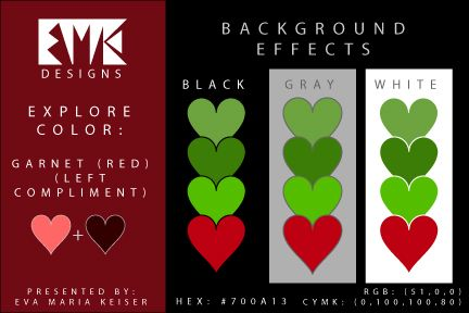 "Eva Maria Keiser Designs: Explore Color Background Effects: ""Garnet - RED"" (..."