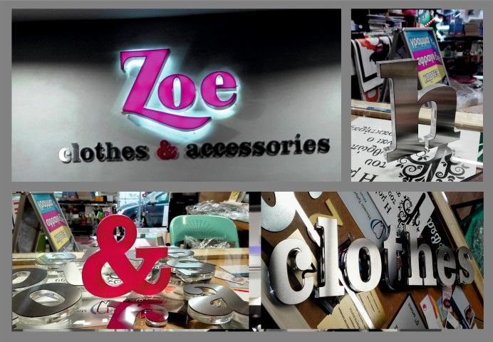 Led 3d letters and plexiglass 3d letters with inox