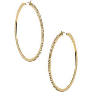 Crystal Gold Big Hoop Earrings
