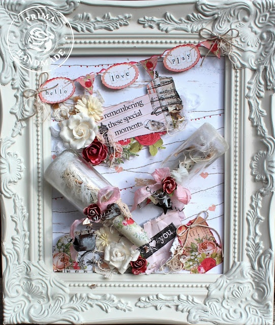 Romantic Shabby Chic Message in a Bottle Frame - Prima Lyric, Valentine's or Anniversary/Wedding Gift for Loved One