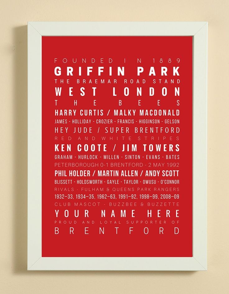 Brentford Football Club Word Art Design Print - Words, Names And Facts Associated With Brentford FC - In White Or Black A4 Box Frame