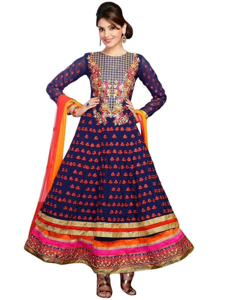 Sensuous navy blue color Georgette Anarkali Suit. Item Code: SLMG505
