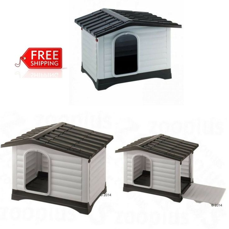Premium Plastic Dog Kennel Spacious House Pet Outdoor Garden Animal Shelter Grey