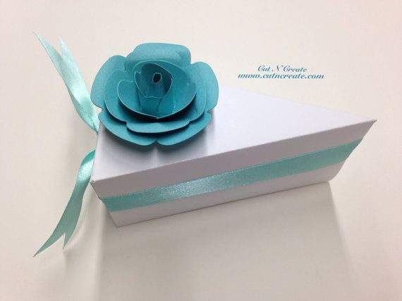 Cake Slice Boxes Cake Box Cake Slice Favors Cake Boxes Baby Shower White With Turquoise on Etsy, $36.00 CAD