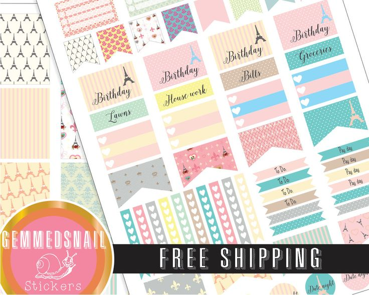 Paris planner stickers printed, FREE SHIPPING. includes full box planner stickers fits Erin Condren planners