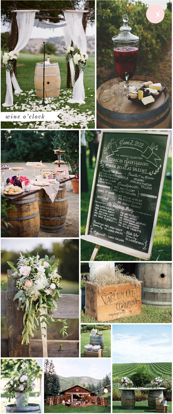 Wine Barrel Wedding Inspiration  We have many available for you to rent at FTV so we can help you create this look yourself!  www.tracyfowler.com