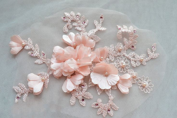 nude pink 3D Beaded Flower lace applique ,pinky pearl embroidery embellishment ,DIY Bridal Wedding Daily decoration pretty