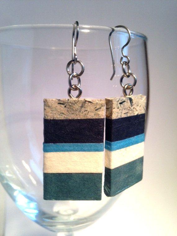 Blue Striped Hanji Paper Earrings OOAK Handmade by HanjiNaty