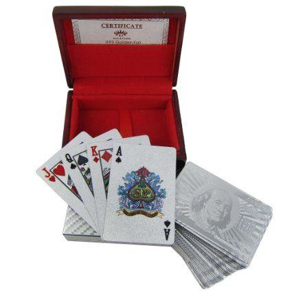 Deck de cartes à jouer en argent 999,9 placage cadeau Unique de l'Inde: Amazon.fr: Jeux et Jouets