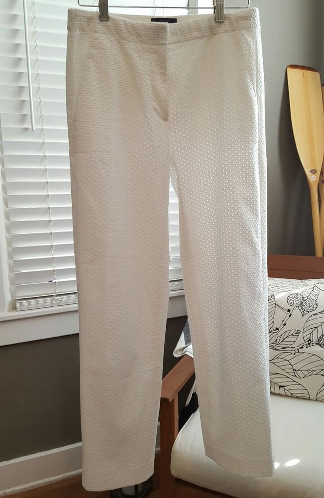 J. CREW White Eyelet Lace Patio Cropped Capri Pants Size 0T 0 TALL #JCrew #CaprisCropped