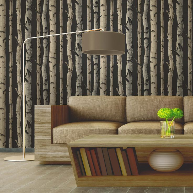 Fine Decor Distinctive Birch Tree Wallpaper in Charcoal Gold - FD31053