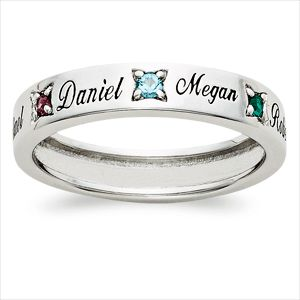 Gift Mom or Grandma with a personalized ring made just for her. Sterling Silver (3.5mm) band is set with the names and birthstones of her loved ones. Choose from 1 to 7 names (8 letters per name) and corresponding Austrian crystal birthstones. Available in full sizes 5 thru 12.
