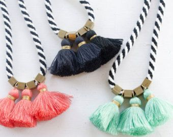 Black and White Rope tassel Necklace, gift for her, women's jewelry, bold statement jewelry,