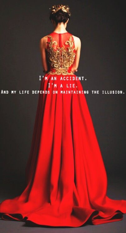 Red dress quotation about life