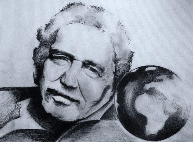 Una idea, mucho arte Gabriel García Márquez Grafito sobre cartulina 35x28.  Autora Emi Mazariegos