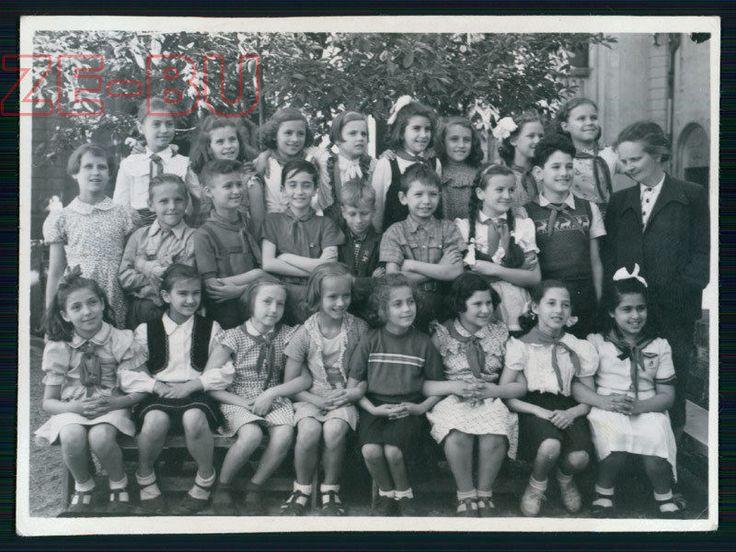 Старинная фотография группы сладкие маленькие девочки школьный класс картинка 1950s | eBay