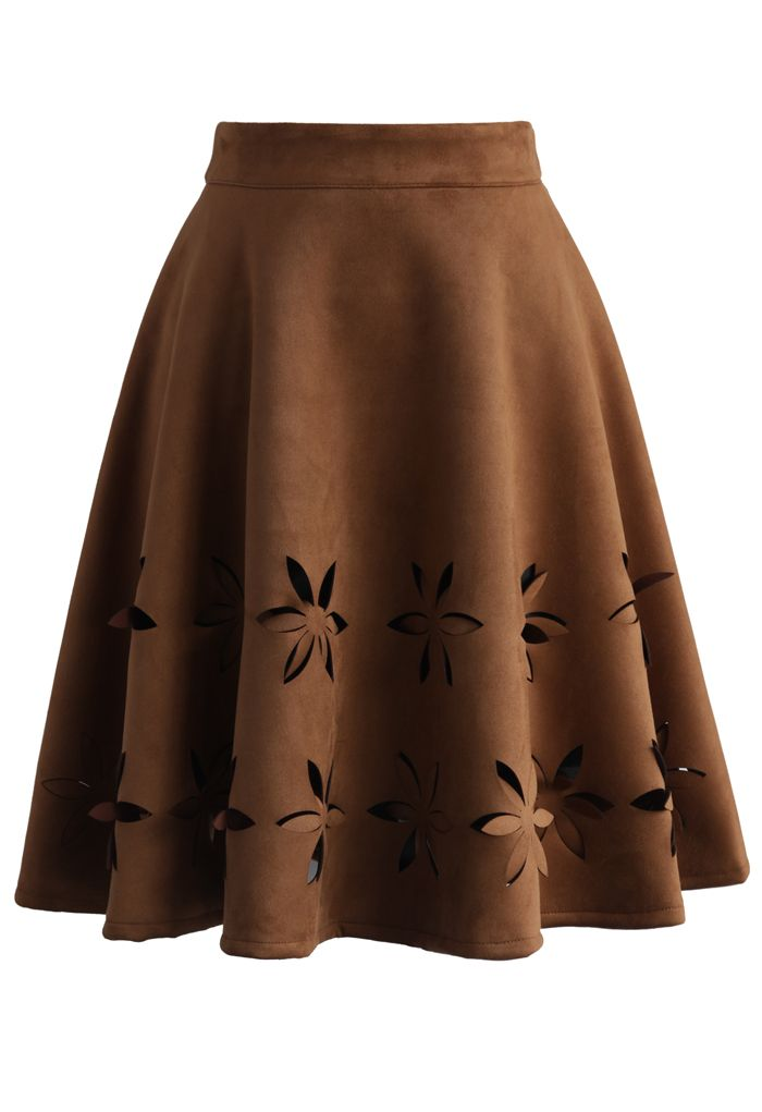 Dancing Flower Cutout Suede A-line Skirt in Tan - New Arrivals - Retro, Indie and Unique Fashion