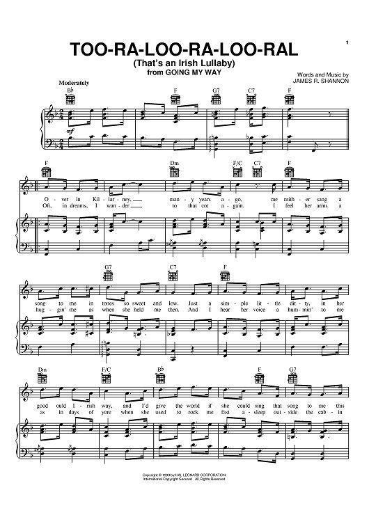 Easy celtic fiddle sheet music Too Ra Loo Ra Loo Ral Irish Lullaby